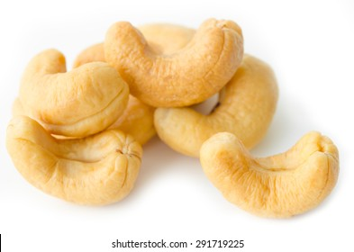 cashews nuts  in closeup on white background.