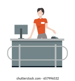 Cashier behind the store counter and cash register. Flat design. Smiling woman in uniform standing near cash with monitor and payment terminal. Supermarket personnel, equipment and service concept.
