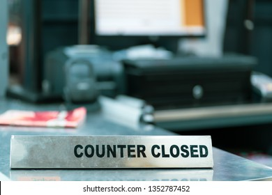 Cashier counter with closed sign