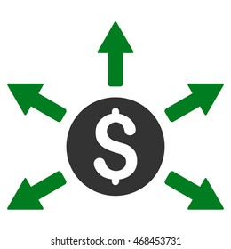 Cashout icon. Glyph style is bicolor flat iconic symbol with rounded angles, green and gray colors, white background.