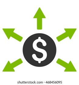 Cashout icon. Glyph style is bicolor flat iconic symbol with rounded angles, eco green and gray colors, white background.
