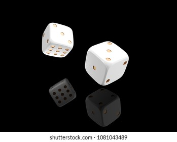 Casino black background with dice 3d. Online casino banner. White and gold dice with reflection isolatel on black. 3d rendering casino clipart.