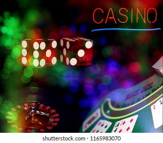 Casino Black Jack Table with Roulette Wheel and Dice. Neon Casino Sign with Bokeh Effect