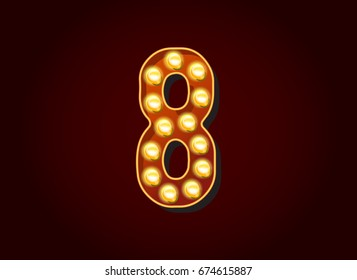 Casino or Broadway Signs style light bulb Digits Numbers Character in Raster