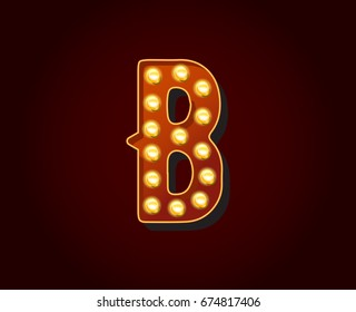 Casino or Broadway Signs style light bulb Alphabet Letter Character in Raster