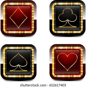 Casino cards with gold elements and brilliants