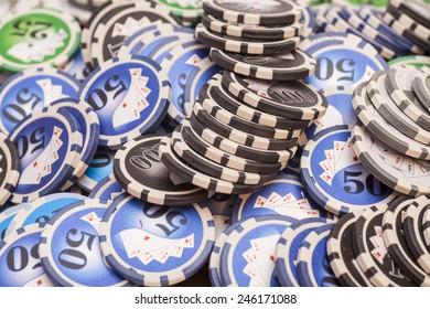 Casino chips- gambling concept