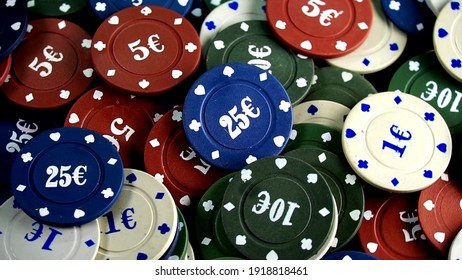 casino chips on the mirror table. Four aces and poker playing chips on a mirror . Online gambling. Casino play.