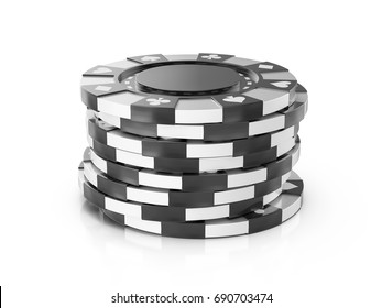 Casino chips on a white background. 3d illustration.