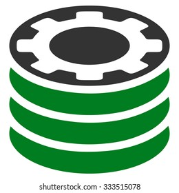 Casino Chips raster icon. Style is bicolor flat symbol, green and gray colors, rounded angles, white background.