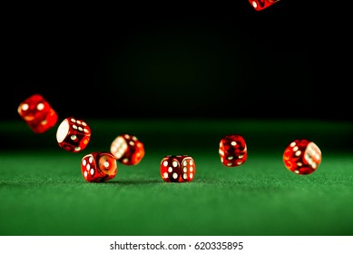 Casino Concept background with dice, roulette and chips.