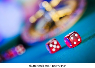 Casino concept. Dice game on bokeh background.