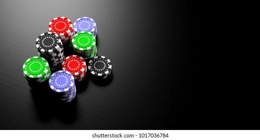 Casino concept. Poker chips stacks on black wooden background, banner, copy space. 3d illustration