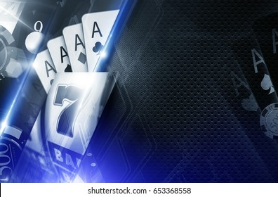 Casino Copy Space Background 3D Concept Illustration. Casino Games Backdrop in Glowing Blue Colors.