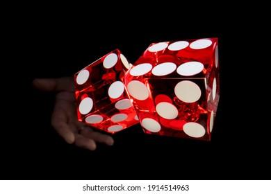 Casino Craps dice close up - Shallow depth of field