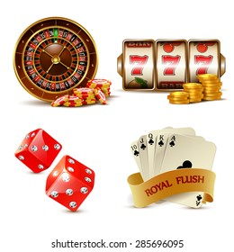 Casino design elements with cards, chips, slot machine, dice and roulette.