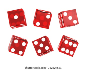 Casino dice isolated on white. Set. 3D illustration