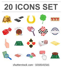 Casino and equipment cartoon icons in set collection for design. Gambling and money bitmap,  symbol stock web illustration.