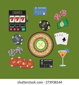 Casino flat icons set