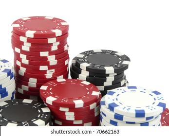 Casino gambling chips on a white background