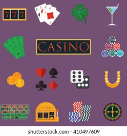 Casino and gambling icons set with slot machine and roulette, chips, poker cards, money, dice, coins, horseshoe flat design illustration.