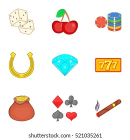 Casino game icons set. Cartoon illustration of 9 casino game  icons for web