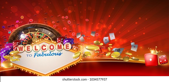 Casino games banner design with 3D rendered roulette wheel, playing cards,  red craps dices, poker gambling chips, golden coins and Las Vegas style casino neon sign