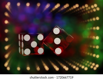 Casino Games With Colorful Bokeh Dice or Craps
