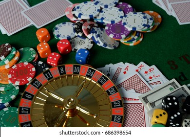 The casino has dice, chips, chips placed on the table.