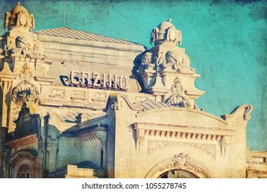 Casino historical building of Constanta Romania using retro vintage filter