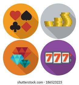 casino icon flat set