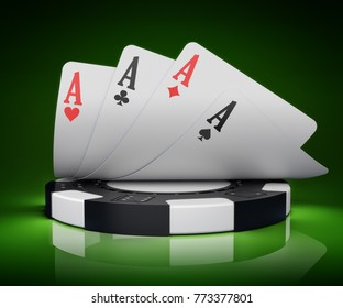 Casino icon and gambling concept, four aces over a black and white poker chip on green background, 3d illustration