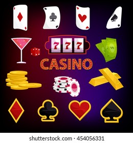 Casino icons set in cartoon style illustration
