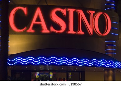 casino neon sign at hotel night dominican republic