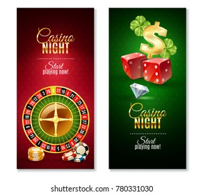 Casino night party games 2 colorful vertical bookmarks banners with roulette wheel  and luck symbol isolated  illustration
