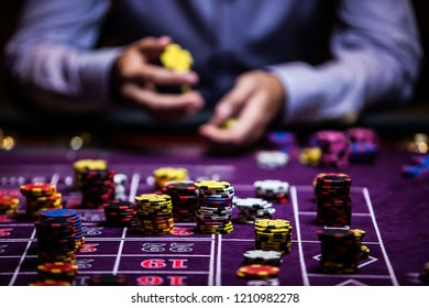 Casino player with chips