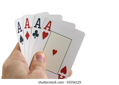Casino playing cards four aces on hand