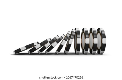 Casino poker background. Falling chips concept, isolated on white. Casino chips domino effect. Game 3D rendering.