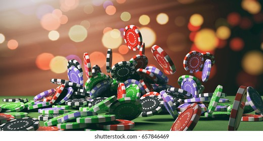 Casino poker chips falling on green felt background. 3d illustration