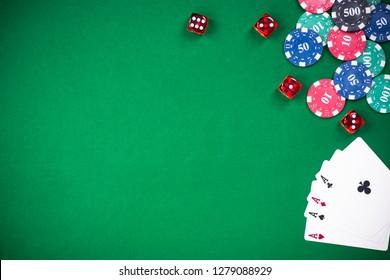 Casino and poker games, green cloth border bacground.