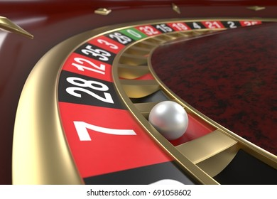 Casino roulette background. Close up of a roulette betting game. Luxury, good time, gaming addiction concept. Graphic design element for flyers, invitations, posters, articles. 3D illustration.