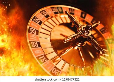 casino roulette  in a blazing fire