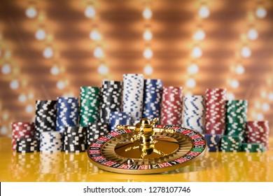Casino roulette wheel in motion