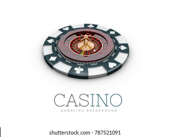Casino roulette wheel on the casino chip. 3d illustration. isolated white