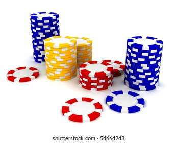 Casino Roulette's chips. 3d rendered image