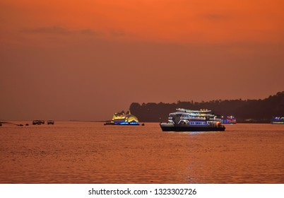 Casino ships sailing in Mandovi river in Goa.