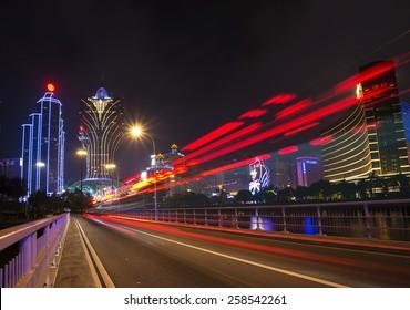casino skyline at night in downtown macau china