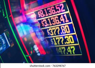 Casino Slot Jackpots Concept. Las Vegas Gambling Theme. Top Payouts Board.