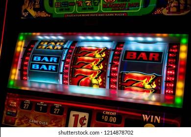 Casino slot machine display closeup