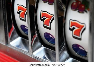 Casino slot machine : three seven jackpot detail of rolls